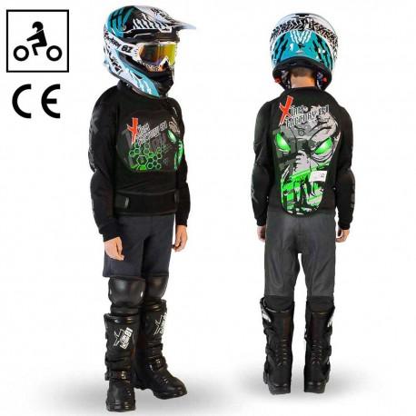 Gilet de protection moto quad enfant Vert